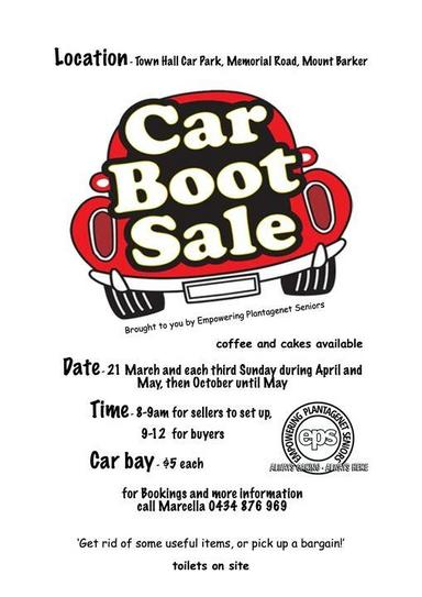Car Boot Sale - Town Hall - Empowering Plantagenet Seniors